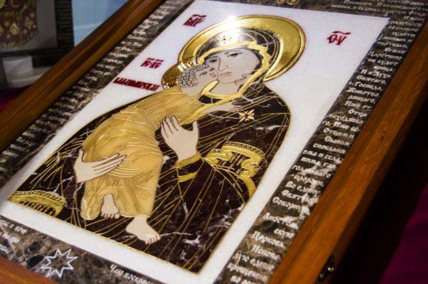 Икона Владимирской Божией Матери № 2-12-1 из мрамора, камня, от Гливи, фото 5