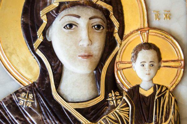 Икона Влахернской Божией Матери № 3 из мрамора, камня, от Гливи, фото 2
