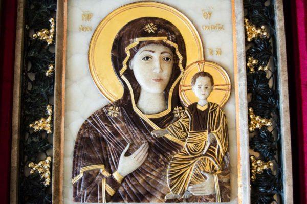 Икона Влахернской Божией Матери № 3 из мрамора, камня, от Гливи, фото 11