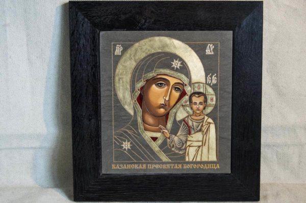 Икона Казанской Божией Матери № 1-10 подарочная из мрамора, камня, от Гливи, фото 1