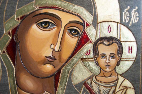Икона Казанской Божией Матери № 1-10 подарочная из мрамора, камня, от Гливи, фото 2