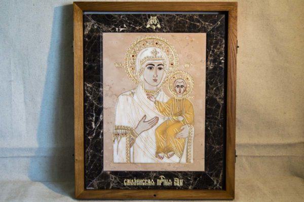 Икона Смоленской Божией Матери № 1-12-6 подарочная из мрамора, камня, изображение, фото 1