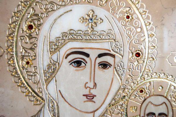 Икона Смоленской Божией Матери № 1-12-6 подарочная из мрамора, камня, изображение, фото 5
