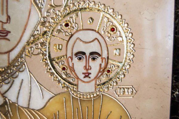 Икона Смоленской Божией Матери № 1-12-6 подарочная из мрамора, камня, изображение, фото 6