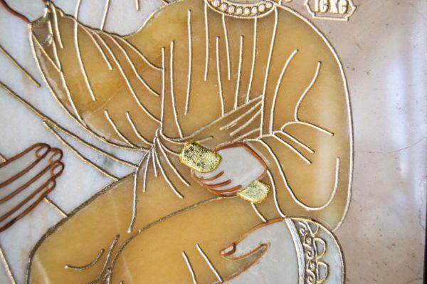 Икона Смоленской Божией Матери № 1-12-6 подарочная из мрамора, камня, изображение, фото 8