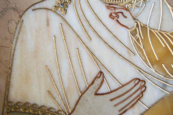 Икона Смоленской Божией Матери № 1-12-6 подарочная из мрамора, камня, изображение, фото 9