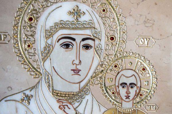 Икона Смоленской Божией Матери № 1-12-6 подарочная из мрамора, камня, изображение, фото 11