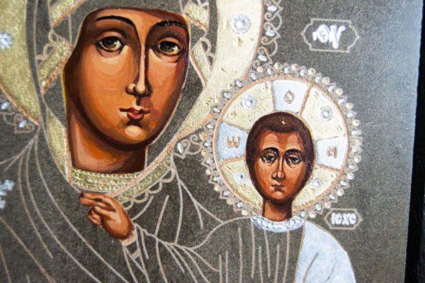 Икона Смоленской Божией Матери № 1-02 подарочная из мрамора, камня, изображение, фото 3