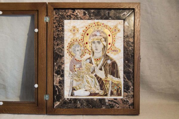 Икона Божией Матери Троеручица № 2-12-2 из мрамора, камня, изображение, фото 7