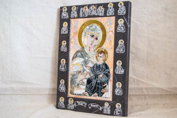 Икона Иверской Божией Матери № 1-25-13 из мрамора, камня, от Гливи, фото 15