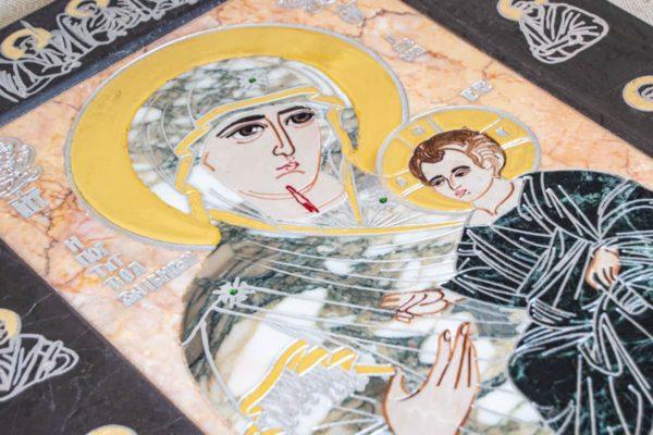 Икона Иверской Божией Матери № 1-25-13 из мрамора, камня, от Гливи, фото 12