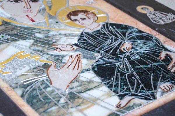 Икона Иверской Божией Матери № 1-25-13 из мрамора, камня, от Гливи, фото 11