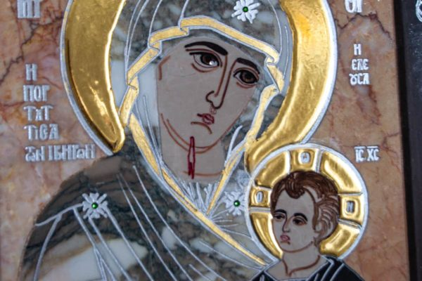 Икона Иверской Божией Матери № 1-25-13 из мрамора, камня, от Гливи, фото 10