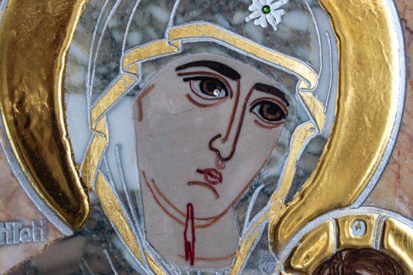Икона Иверской Божией Матери № 1-25-13 из мрамора, камня, от Гливи, фото 9