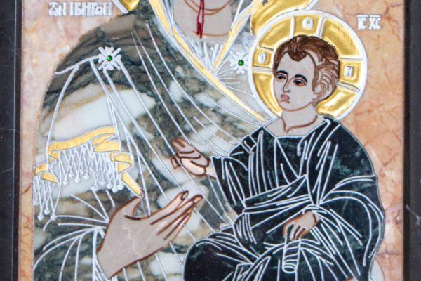 Икона Иверской Божией Матери № 1-25-13 из мрамора, камня, от Гливи, фото 4