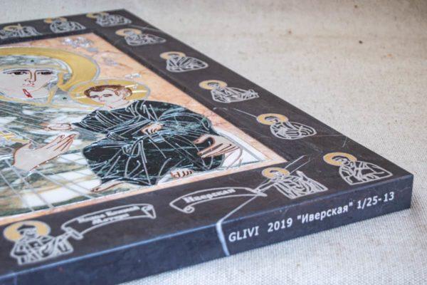 Икона Иверской Божией Матери № 1-25-13 из мрамора, камня, от Гливи, фото 1