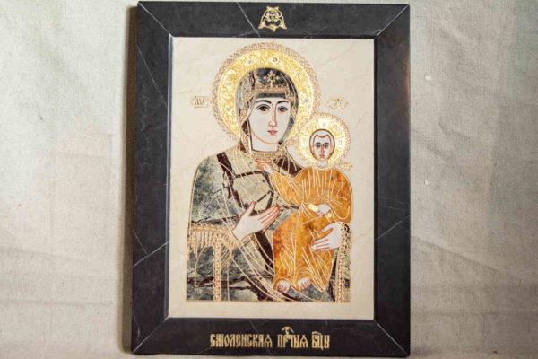 Икона Смоленской Божией Матери № 1-12-4 подарочная из мрамора, камня, изображение, фото 1
