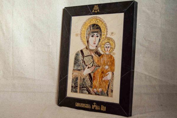 Икона Смоленской Божией Матери № 1-12-4 подарочная из мрамора, камня, изображение, фото 3