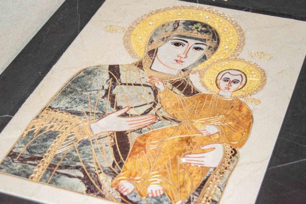 Икона Смоленской Божией Матери № 1-12-4 подарочная из мрамора, камня, изображение, фото 4