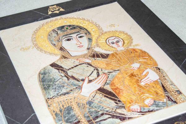 Икона Смоленской Божией Матери № 1-12-4 подарочная из мрамора, камня, изображение, фото 5