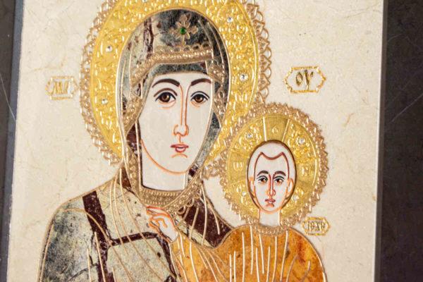Икона Смоленской Божией Матери № 1-12-4 подарочная из мрамора, камня, изображение, фото 6