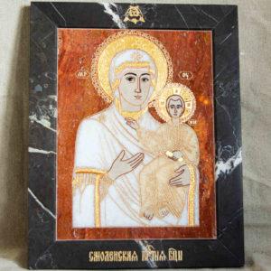 Икона Смоленской Божией Матери № 1-12-10 подарочная из мрамора, камня, изображение, фото 1
