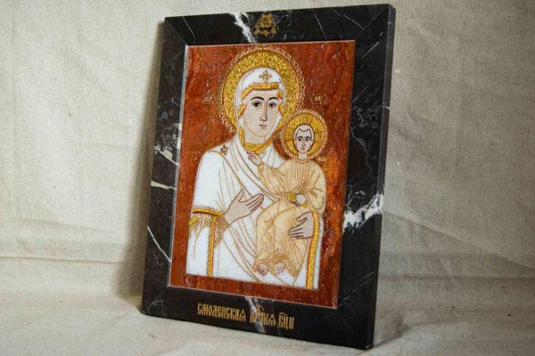 Икона Смоленской Божией Матери № 1-12-10 подарочная из мрамора, камня, изображение, фото 2