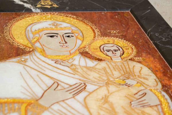 Икона Смоленской Божией Матери № 1-12-10 подарочная из мрамора, камня, изображение, фото 4