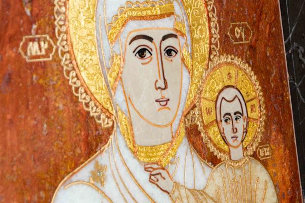 Икона Смоленской Божией Матери № 1-12-10 подарочная из мрамора, камня, изображение, фото 5