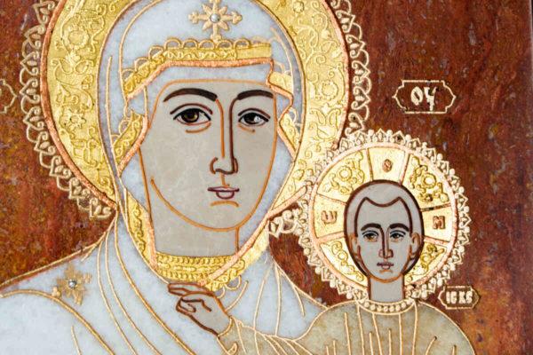 Икона Смоленской Божией Матери № 1-12-10 подарочная из мрамора, камня, изображение, фото 6