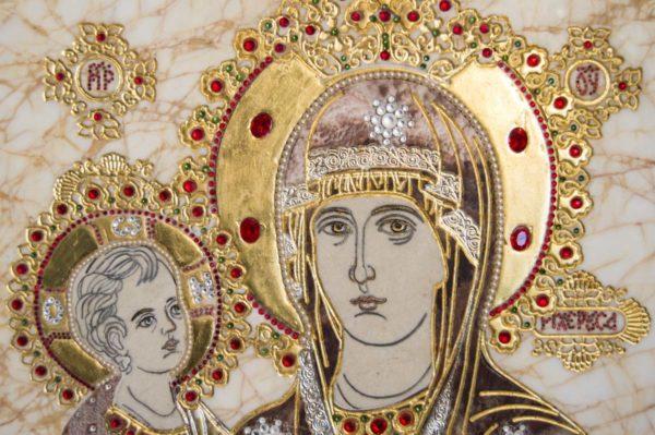 Икона Божией Матери Троеручица № 2-12-2 из мрамора, камня, изображение, фото 8