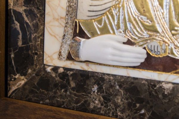Икона Божией Матери Троеручица № 2-12-2 из мрамора, камня, изображение, фото 9