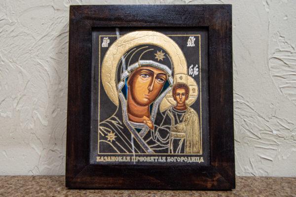 Икона Казанской Божией Матери № 1-11 подарочная из мрамора, камня, от Гливи, фото 1