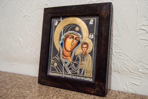 Икона Казанской Божией Матери № 1-11 подарочная из мрамора, камня, от Гливи, фото 2