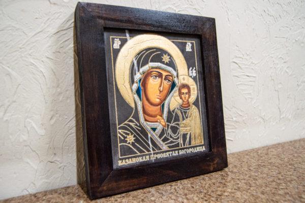 Икона Казанской Божией Матери № 1-11 подарочная из мрамора, камня, от Гливи, фото 3