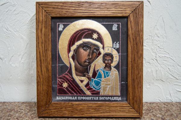 Икона Казанской Божией Матери № 1-12 подарочная из мрамора, камня, от Гливи, фото 1