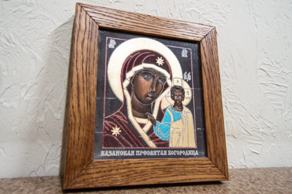 Икона Казанской Божией Матери № 1-12 подарочная из мрамора, камня, от Гливи, фото 2