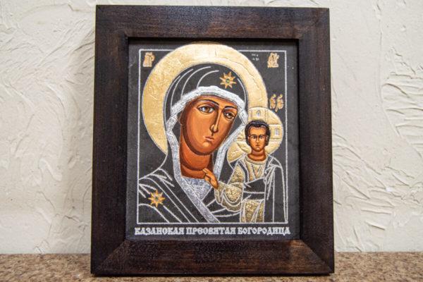 Икона Казанской Божией Матери № 1-13 подарочная из мрамора, камня, от Гливи, фото 1