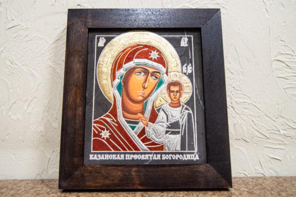 Икона Казанской Божией Матери № 1-14 подарочная из мрамора, камня, от Гливи, фото 1