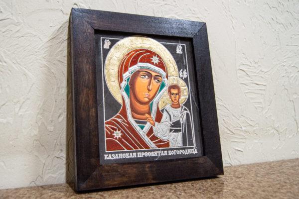 Икона Казанской Божией Матери № 1-14 подарочная из мрамора, камня, от Гливи, фото 2