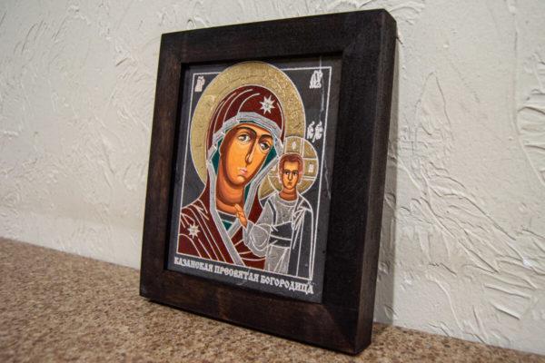 Икона Казанской Божией Матери № 1-14 подарочная из мрамора, камня, от Гливи, фото 3