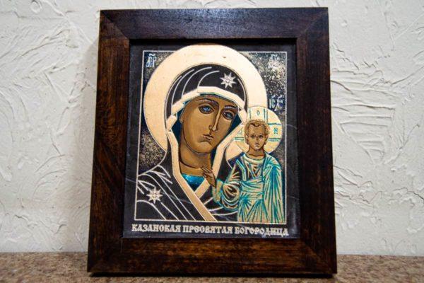 Икона Казанской Божией Матери № 1-15 подарочная из мрамора, камня, от Гливи, фото 1