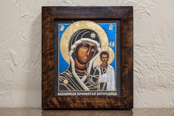 Икона Казанской Божией Матери № 1-16 подарочная из мрамора, камня, от Гливи, фото 1