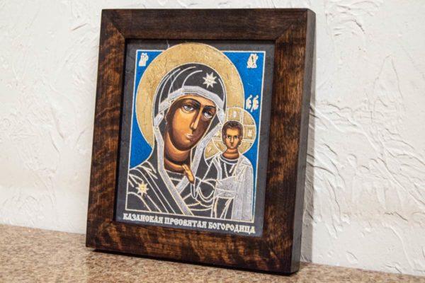Икона Казанской Божией Матери № 1-16 подарочная из мрамора, камня, от Гливи, фото 2