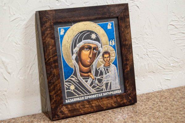 Икона Казанской Божией Матери № 1-16 подарочная из мрамора, камня, от Гливи, фото 3