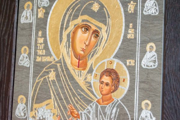 Икона Иверской Божией Матери № 1-5 из мрамора, камня, от Гливи, фото 2