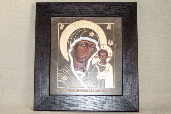 Икона Казанской Божией Матери № 1-17 подарочная из мрамора, камня, от Гливи, фото 1