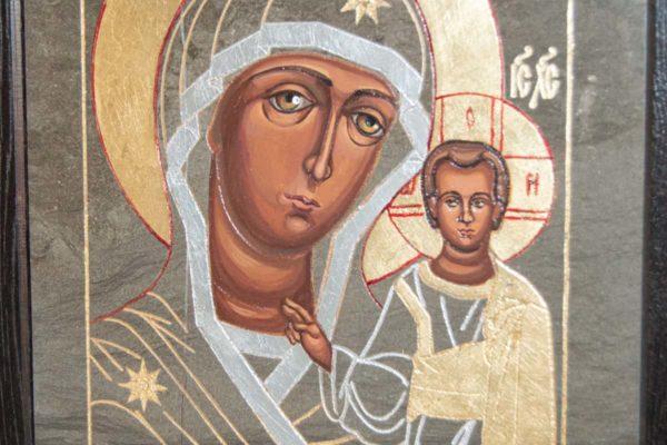 Икона Казанской Божией Матери № 1-17 подарочная из мрамора, камня, от Гливи, фото 3