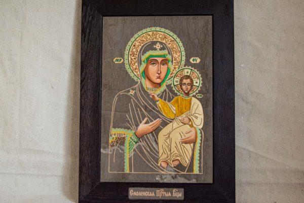 Икона Смоленской Божией Матери № 1-03 подарочная из мрамора, камня, изображение, фото 1