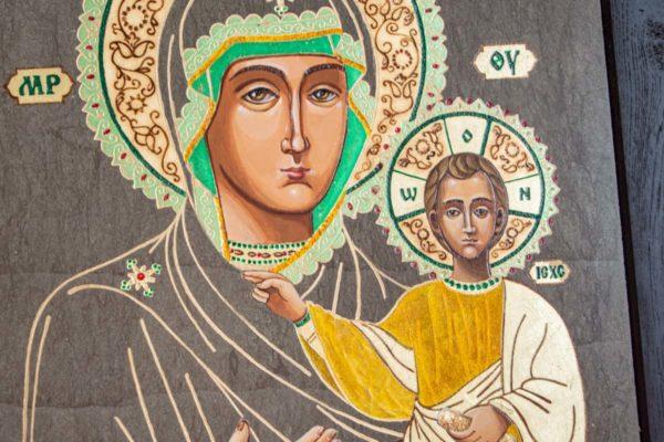 Икона Смоленской Божией Матери № 1-03 подарочная из мрамора, камня, изображение, фото 2